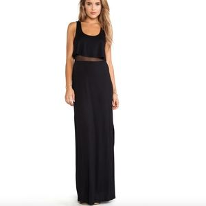 BCBG Mesh Panel Ruffle Tank Top Black Maxi Dress